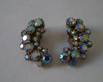 Vintage Iridescent Crescent Rhinestone Clip On Earrings