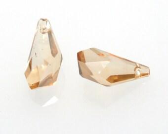 Clearance Sale 2pc Swarovski Polygon Drop Pendant 6015 17x9mm Golden Shadow, Genuine Swarovski ELEMENTS