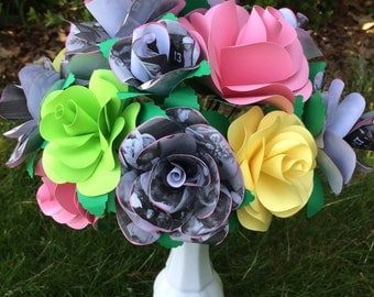 Paper flower bouquet created with photos, sheet music or book pages  wedding, anniversary, gift idea keepsake bouquet