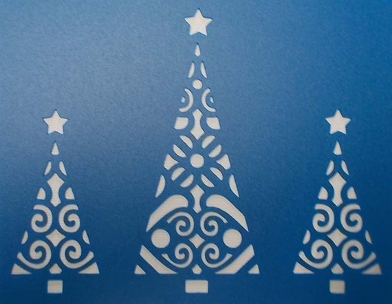 Christmas Trees X 3 Stencil By Kraftkutz On Etsy
