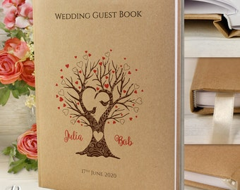 Personalised Wedding Guest Book Grey Recycling Craft Style With Satin Ribbon