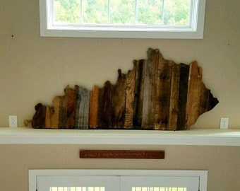 Reclaimed Wood State Wall Decor, Kentucky - Rustic Pallet Art, Custom Sizes and Designs Available