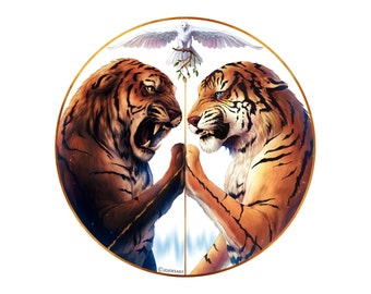 Peace - Signed Fine Art Giclee Print - Wall Decor - Fantasy Tiger Painting by Jonas Jödicke
