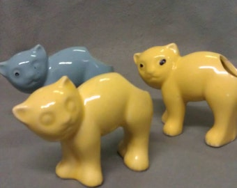 Yellow and Blue Cat Holders