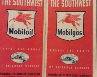Mobiloil Mobilgas Magnolia Petroleum Company Map of the Southwest 1950