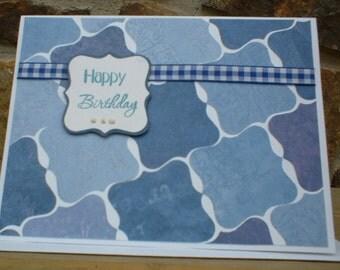 Blue Birthday Tiles Greeting Card