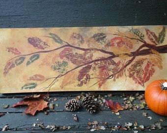 Autumn painting,autumn decor,autumn,leaves,leaf painting,autumn art,nature art,leaf prints,autumn colours,tree on canvas,tree picture