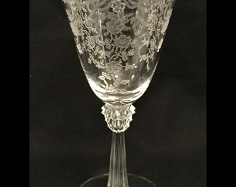 "Free Shipping-Elegant-Depression-Glass-By Fostoria-Pattern Romance-Etched-5 1/2"" Tall-Stemmed-Wine Glass"