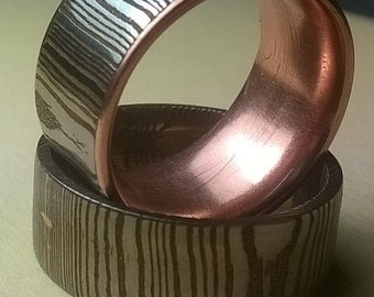 Laminate Damascus Steel Ring, Custom made, Mokume Gane