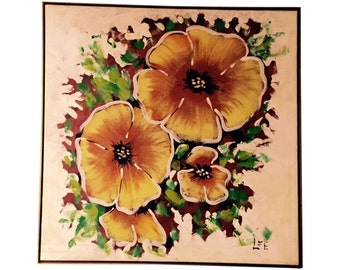 Large Mid Century Modern Painting of Yellow Flowers