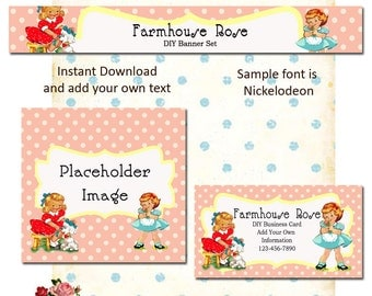 Updated Playtime PINK 5 Piece DIY Shop Banner Avatar and Business Card Graphics Set Instant Download