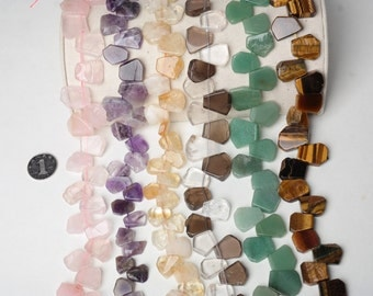 Natural Rose Quartz/Citrine/Clear Crystal Smoky Quartz Beads, Gemstone Loose Beads Full Strand Waterdrop 12*16-19*21mm Beads for DIY Jewelry
