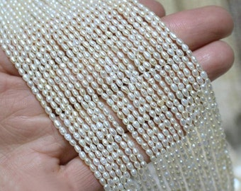 Small Pearl Seed Beads, Tiny 2mm Natural White Loose Tassel Pearl Oval Rice Beads for DIY Jewelry Making (HX129)