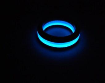 glow in the dark resin and cherry wood ring, custom, handmade