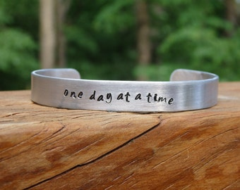 Hand Stamped Cuff Bracelet one day at a time, Inspirational Cuff Bracelet