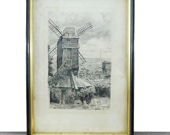 Antique Wood Frame Paris drawing - Vintage frame - French Frame - Paris Frame - Moulin - Paris Chic - Paris Apartment - French decor