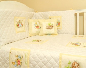 Cream & white dotty Beatrix potter Peter rabbit baby crib bedding