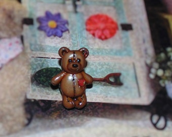 Handcrafted Novelty Small Teddy Bear Hat/Shirt/Lapel Pin