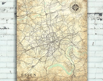 ESSEN Canvas Print Germany Vintage map City Vintage map Wall Art poster retro old home decor gift home decor Vintage World Travel map Europe