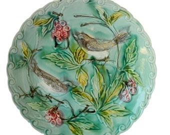 French Antique Wall Onnaing Turquoise Majolica Plate - Birds Berries c 1880 - French Country Cottage  Decor