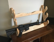 Hand Made Wooden Gun Rack, Pecan Stain Wood Gun Holder, 3 Gun Rack, 3 Shotgun Gun Rack
