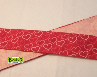 "Pink Hearts Greyhound Martingale Collar 2"" Wide Fabric Lined"