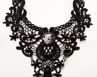 Goth hand painted cat skull black lace neclace