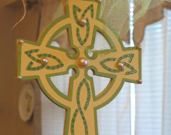 Yellow and Green Cross wall decor