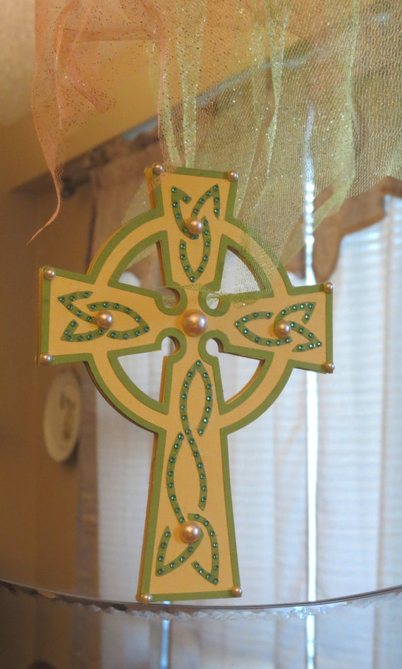 Yellow and green cross wall decor w pearls and rhinestones - Wall decoration with pearls ...