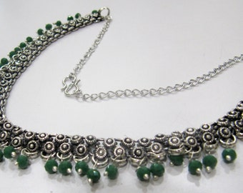 Indian Tribal Necklace / White metal Necklace / Banjara Jewelry with Green faceted Beads / Gypsy necklace Metal Jewelry