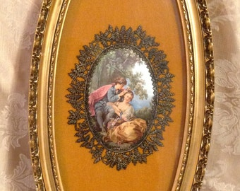 Victorian Picture in Oval Frame, Puffed Satin Victorian Lovers Picture, Oval Victorian Picture