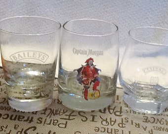 SET of 3 vintage barware glasses:  2 Baileys Irish Cream + 1 Captain Morgan Rum.  Etched-glass logos. MINT!