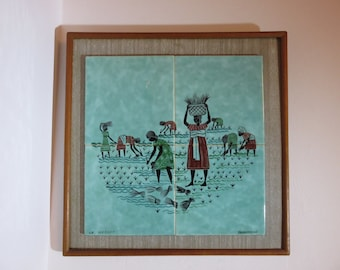 "very rare scene consisting of 4 ceramic tiles framed ""Leslie"" TANANARIVE mid century 50 60 vintage ceramic years"