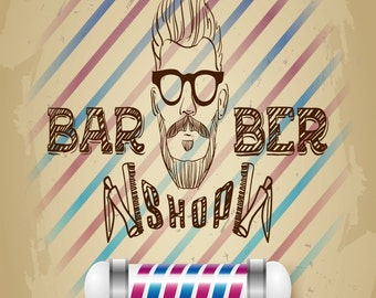 Barber Shop, Vintage Style  Metal Sign,  No.668