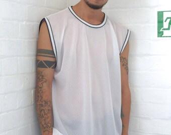 Mesh Sleeveless T-shirt White
