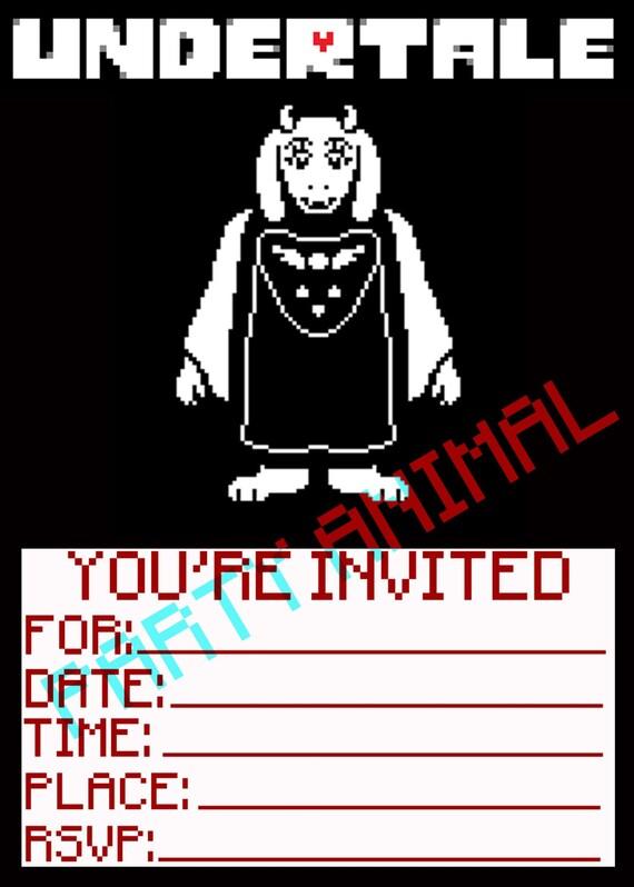 Undertale Birthday Invitations Toriel Digital Download 5x7