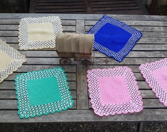 1970s colorful crochet dishcloths