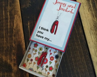 I Think You Have My... - Matchbox Necklace | Silver Plated Red Stapler Charm | Made in the USA