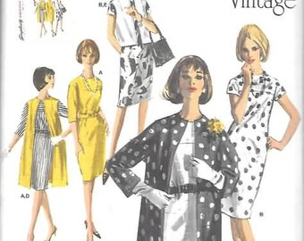 Misses 1960 Vintage Dress/Coat New Simplicity Sewing Pattern 1284  Sizes  6 Thru 14