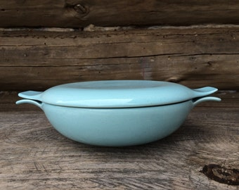 Vintage Blue Mid Century Ceramic Covered Casserole Dish