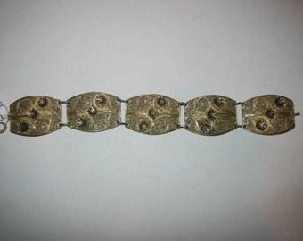 Art Deco Sterling Silver Filigree Flower Bracelet;Gold Vermeil Red EnamelFlowers