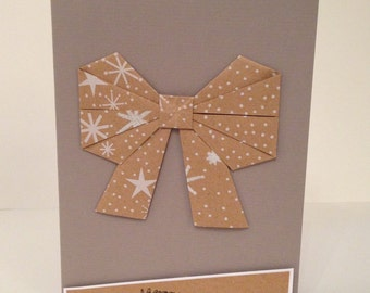 Pack of handmade origami bow Christmas card kits