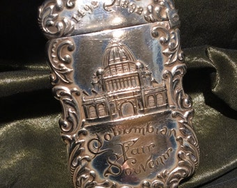 1892 Columbian Fair Souvenir Antique Silver Plated Vesta or Match Safe  from Chicago World's Fair