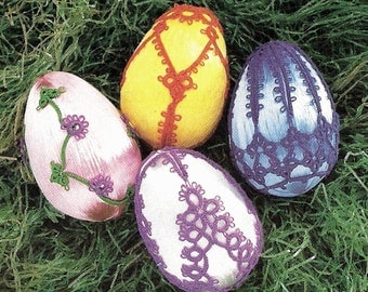 Tatting Pattern For Tatted Easter Eggs - PDF Pattern Instruction Download - Directions for Tatting Over Satin Easter Eggs
