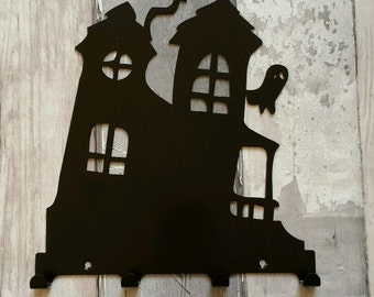 Crooked House with Ghost Silhouette Key Hook Rack - metal wall art