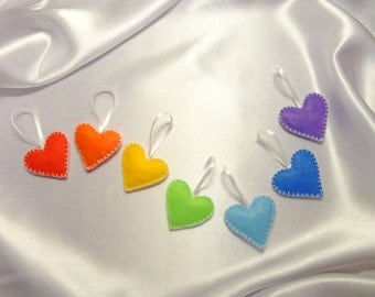 Rainbow felt ornaments SET of 7 hearts, Felt ornament, Christmas, Wedding, Valentines Day Decor, Decor, Rainbow Educational toy