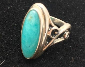 Blue Aragonite Ring Sterling Silver Statement Ring Size 8