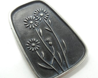 Mid-Century Modern Flower Brooch Swedish Designer Landerholm for Rune Tennesmed Sweden Scandiavian Pewter Jewelry Pin Design