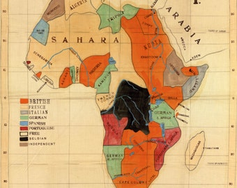 Antique Missionary Map of Africa| 1908 Old Colonial Map of Africa| Old Afrique Continent Map