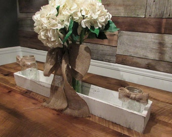 Rustic Centerpiece, Wedding Decor, planter box